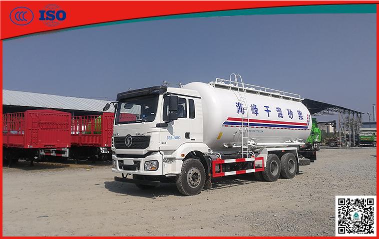 陕汽德龙25方卧式干混砂浆运输车